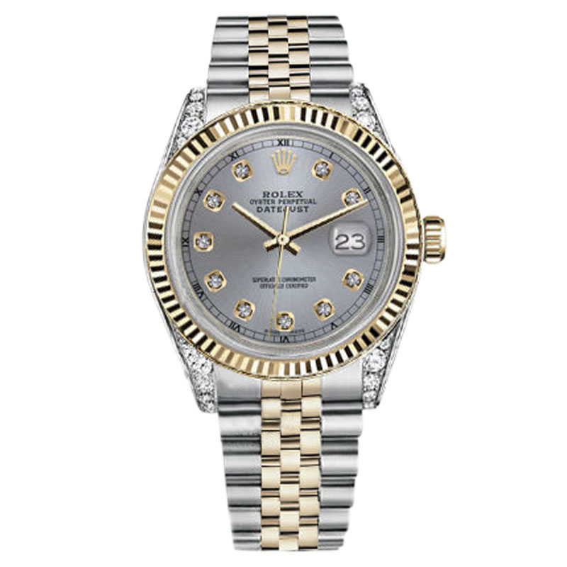"Image of ""Rolex Datejust 18K Gold & Steel Steel Grey Dial & Diamonds On Lugs 36"""