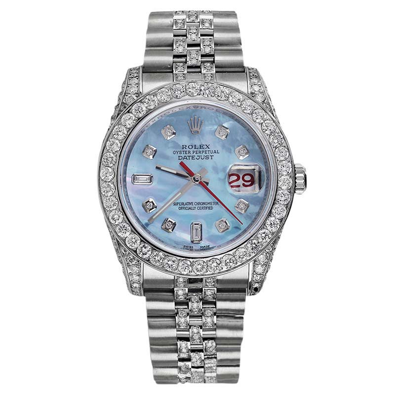 "Image of ""Rolex Datejust 116234 Ice Blue MOP Stainless Steel Jubilee Diamond"""