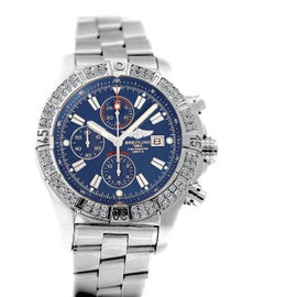 Breitling Super Avenger Aeromarine A13370 Blue Sticks Dial 2 Row Diamond Bezel Watch