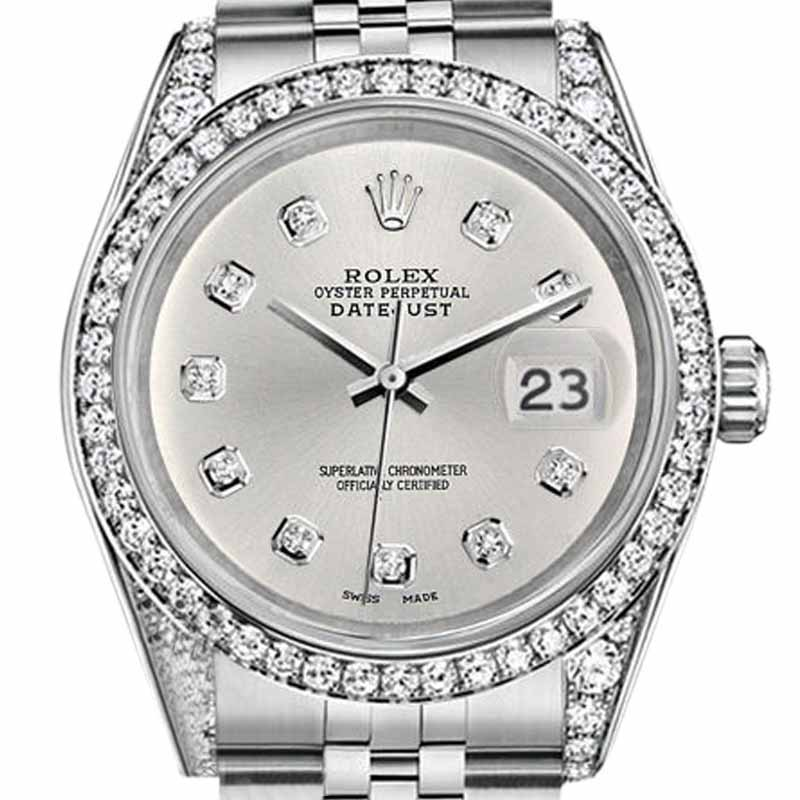 """Image of """"Rolex Datejust Stainless Steel Silver Diamond Dial Womens 26mm Watch"""""""