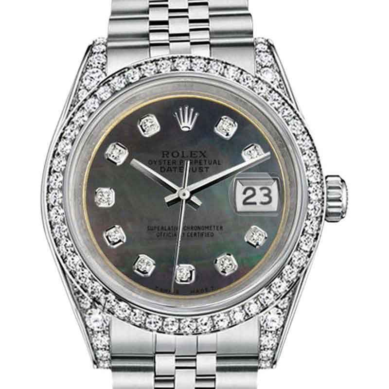 "Image of ""Rolex Datejust Steel Black Mother Of Pearl Color Diamond Dial Ladies"""