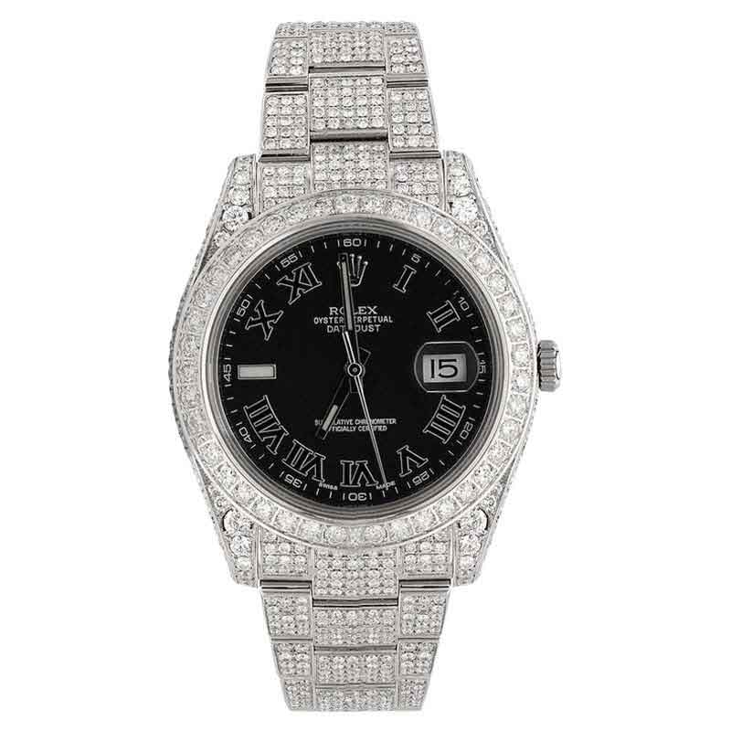 """Image of """"Rolex Datejust II Steel Base 20.00 ct Iced Out Watch"""""""