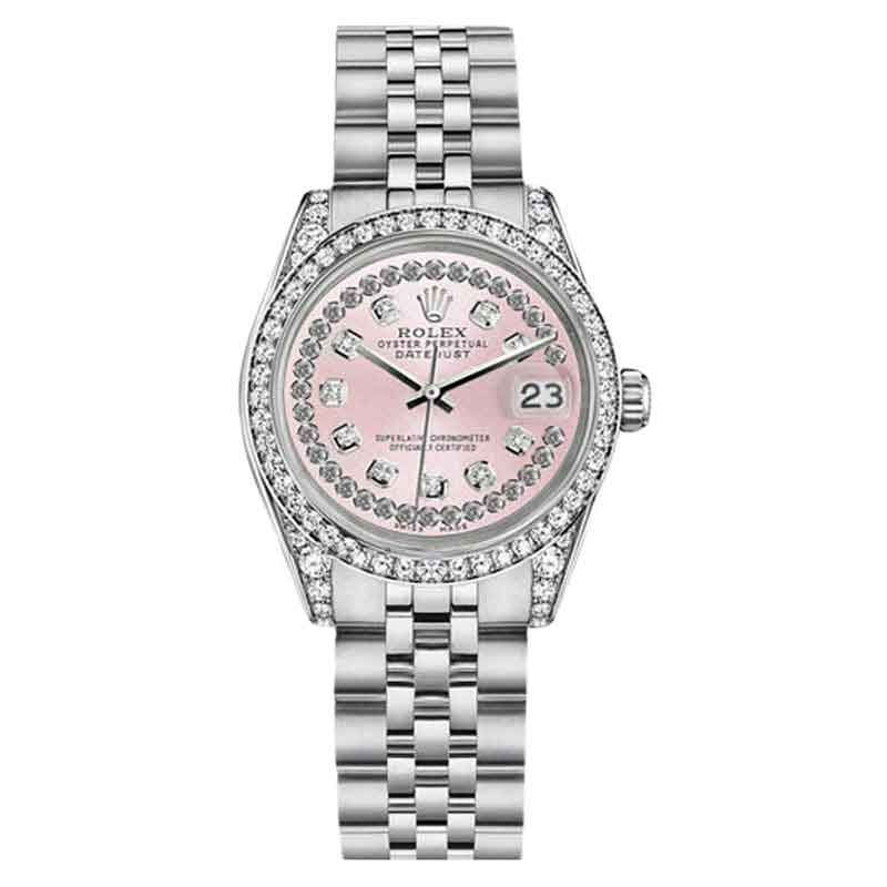 "Image of ""Rolex Datejust Stainless Steel Pink String Diamond Dial Watch 26mm"""