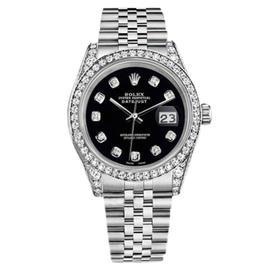 Rolex Datejust Black Diamond Dial Jubilee Bracelet Diamonds 36mm Watch