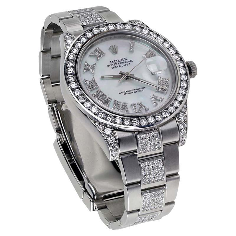 "Image of ""Rolex Datejust II MOP Dial Stainless Steel Oyster Diamond Mens 41mm"""