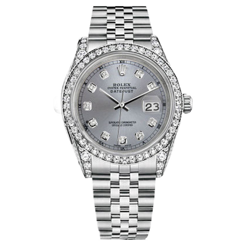 "Image of ""Rolex Datejust Stainless Steel Grey Color Diamond Dial 36mm Watch"""