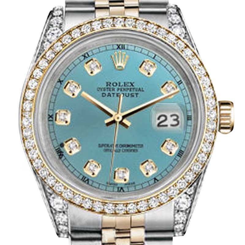 "Image of ""Rolex Stainless Steel Gold 36 mm Datejust Ice Blue Color Diamond Dial"""