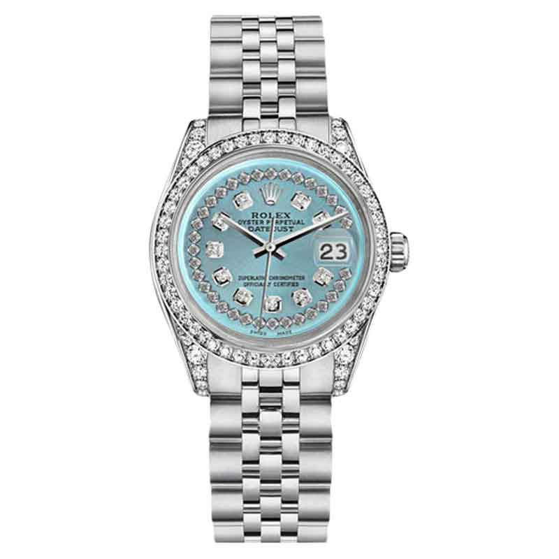 "Image of ""Rolex Datejust Steel Ice Blue String Diamond Dial Diamond Womens Watch"""