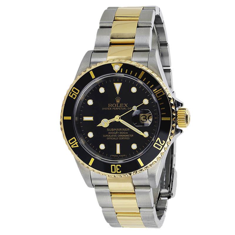 "Image of ""Rolex 16613 Submariner 2-Tone Gold & Steel Black Index Dial Men's 40mm"""