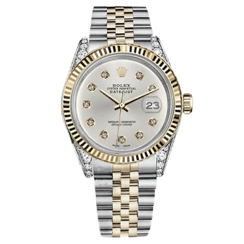 "Image of ""Rolex 31mm Datejust 2 Two Tone Silver Color Dial with 10 Round Diamond"""