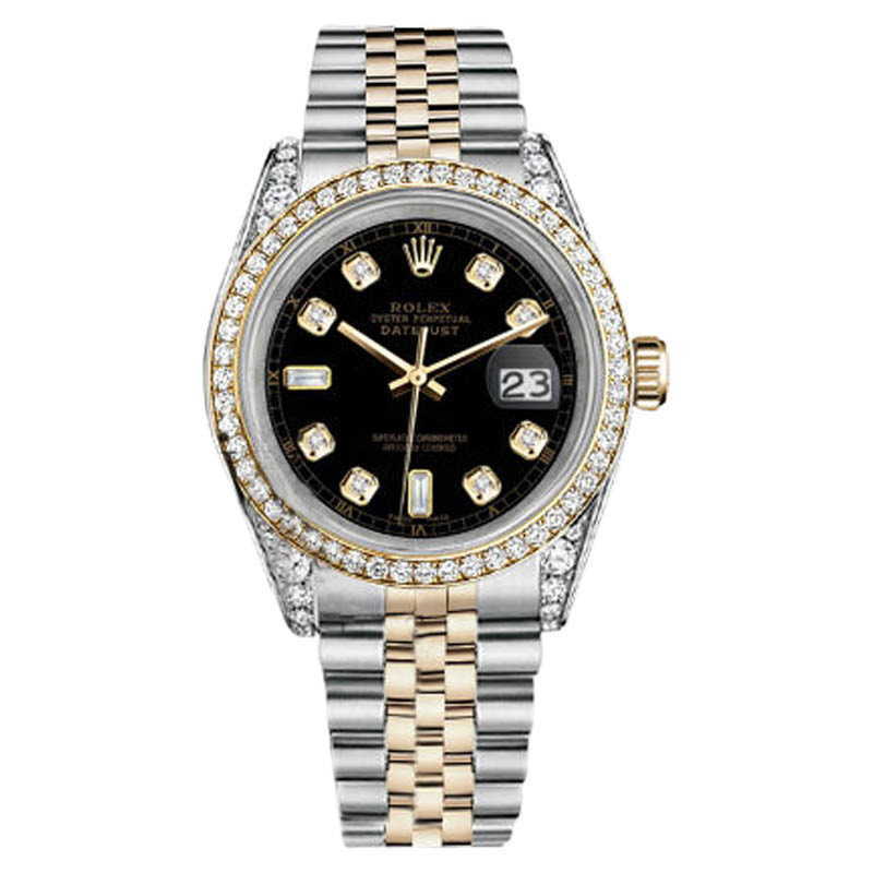 "Image of ""Rolex Stainless Steel-Gold 36 mm Datejust Watch Black Diamond Dial"""