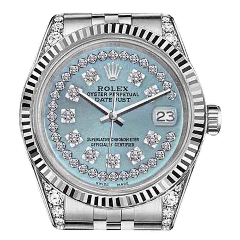 "Image of ""Rolex Datejust Stainless Steel Ice Blue String Diamond Dial 36mm Watch"""