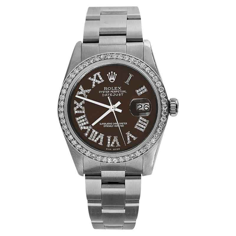 """Image of """"Rolex Stainless Steel On Oyster Bracelet Brown Roman Numeral Watch"""""""
