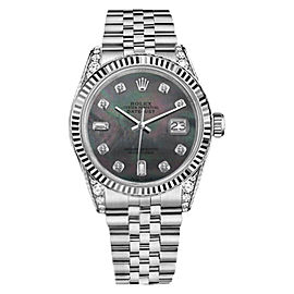 Rolex 36mm Datejust Black MOP Mother Of Pearl with 8 + 2 Diamond Accent Watch