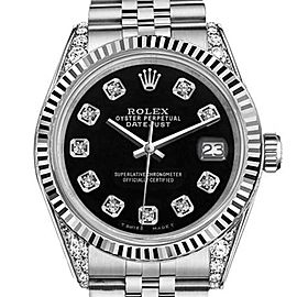 Rolex Datejust Black Color Dial with Diamonds 26mm Woman's Watch
