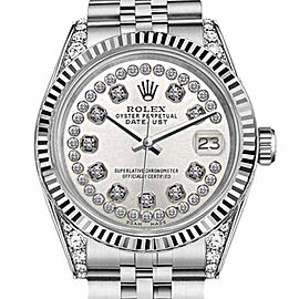Rolex Datejust Silver String Diamond Accent Dial Watch 36mm