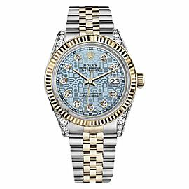 Rolex Datejust 2 Tone Jubilee Ice Blue Color Diamond Dial Watch 36mm