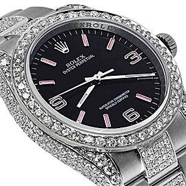 Rolex 116000 Oyster PerpetualBlack w/ Pink Dial Custom Diamond 36mm Watch