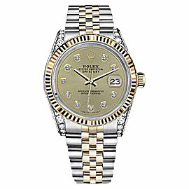 Rolex Datejust Champagne Color Diamond Accent Dial Womens Watch 31mm