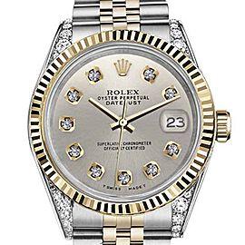 Rolex Datejust 2 Tone Silver Color Diamond Dial 36mm Watch