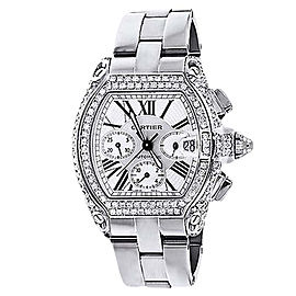 Cartier Roadster XL W62020X6 Chronograph Diamond White Stainless Steel Automatic Watch