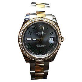 Rolex Datejust II 41mm 116333 Green Roman Dial Two-Tone Oyster Bracelet Watch