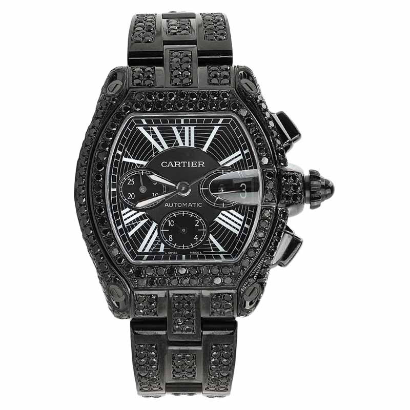 "Image of ""Cartier Roadster XL W62020X6 Black Diamond Dial Stainless Steel Watch"""