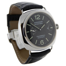 Panerai Black Seal PAM00287 J Stainless Steel and Leather 45mm Watch