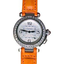Cartier Pasha 2398 18K White Gold & Diamond Automatic 32mm Womens Watch