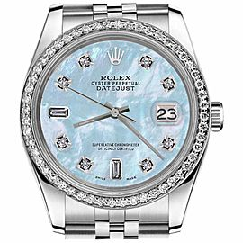 Rolex Datejust Baby Blue MOP Mother Of Pearl 8+2 Diamond Dial 31mm Watch