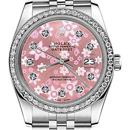 Rolex Datejust Glossy Pink Flower Dial with Diamond Accent 36mm Watch