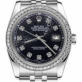 Rolex Datejust Jubilee Black Color Dial with Diamond Accent 36mm Watch