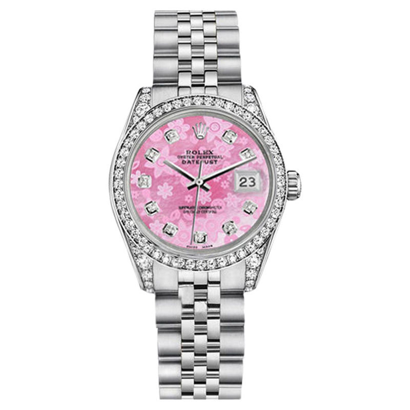 """Image of """"Rolex Datejust Stainless Steel Pink Flower MOP Diamond Dial Womens"""""""
