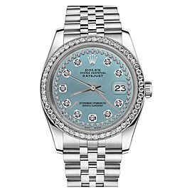 Rolex Datejust Ice Blue String Diamond Accent Dial Womens 26mm Watch