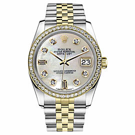 Rolex Datejust 2 Tone White MOP Mother Of Pearl 8+2 Diamond 31mm Watch