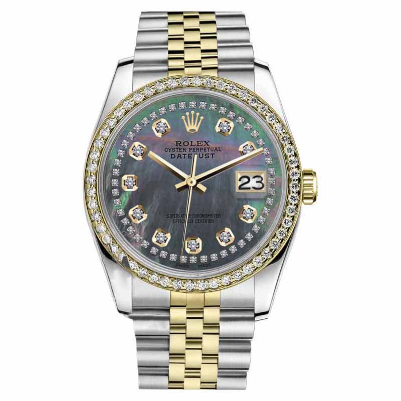 """Image of """"Rolex Datejust 2 Tone Black MOP Mother of Pearl String Diamond 26mm"""""""