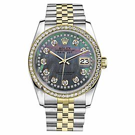 Rolex Datejust 2 Tone Black MOP Mother of Pearl String Diamond 26mm Watch