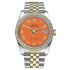 Rolex Datejust 2 Tone Orange Color Roman Numeral Dial 31mm Watch