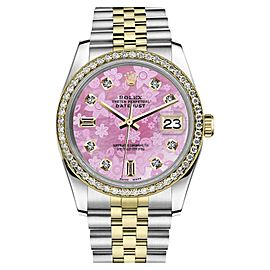 Rolex Datejust 2 Tone Pink Flower MOP Mother of Pearl Dial Women`s 26mm Watch