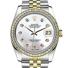 Rolex Datejust Two Tone White MOP Mother Of Pearl Diamond 26mm Watch