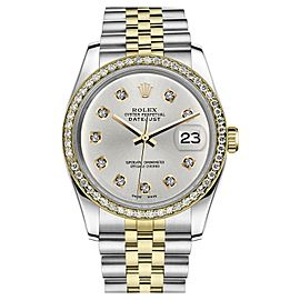 Rolex Datejust Two Tone Silver Color Dial 10 Round Diamond Accent 26mm Watch