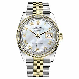 Rolex Datejust Stainless Steel 18K Yellow Gold Mother Of Pearl Diamond Roman Numeral 31 mm Watch