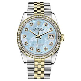 Rolex Datejust Stainless Steel 18K Yellow Gold Baby Blue Mother Of Pearl Diamond Dial 26 mm Watch