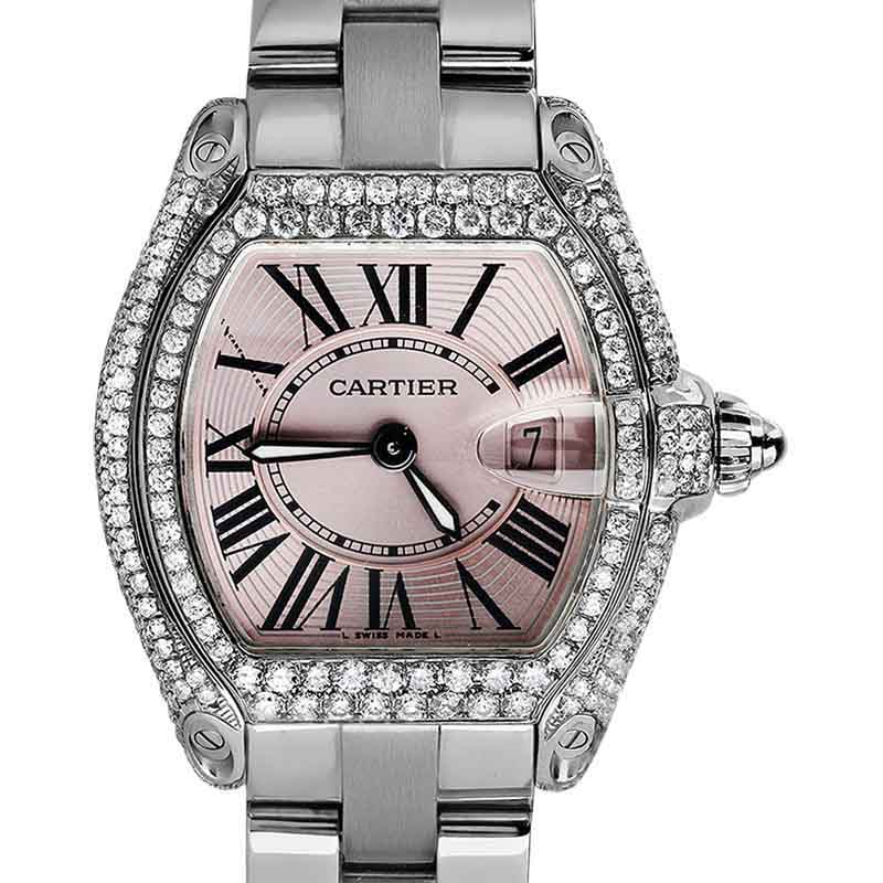 "Image of ""Cartier Roadster Small Pink Dial Stainless Steel Diamonds Bracelet"""