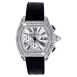Cartier Roadster Xl Chronograph White Dial On Alligator Strap Unisex Watch