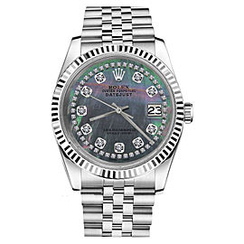 Rolex Datejust Black MOP Mother of Pearl String Diamond Accent Womens 26mm Watch