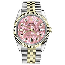 Rolex Datejust2Tone Glossy Pink Flower Dial with 8+2 Diamond Accent Womens 36mm Watch