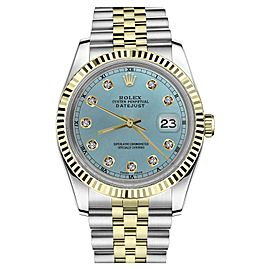Rolex Datejust 2Tone Ice Blue Color Dial with Diamond Accent RT Womens 36mm Watch