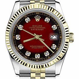 Rolex Datejust TwoTone Red Vignette Color Dial Diamond Accent RT 36mm Womens Watch