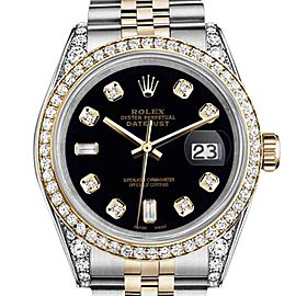 Rolex Datejust Stainless Steel And Gold Black Color Diamond Dial 36mm Unisex Watch